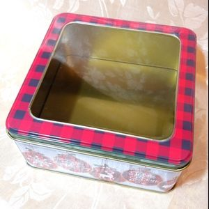 Christmas Ornament Themed Tin with Windowed Lid